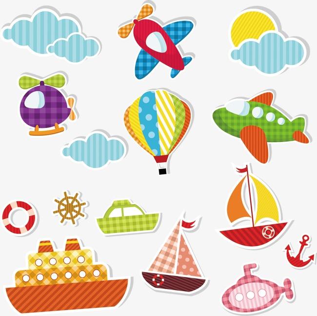 卡通手绘飞机热气球帆船轮船潜水艇云朵png素材-90设计