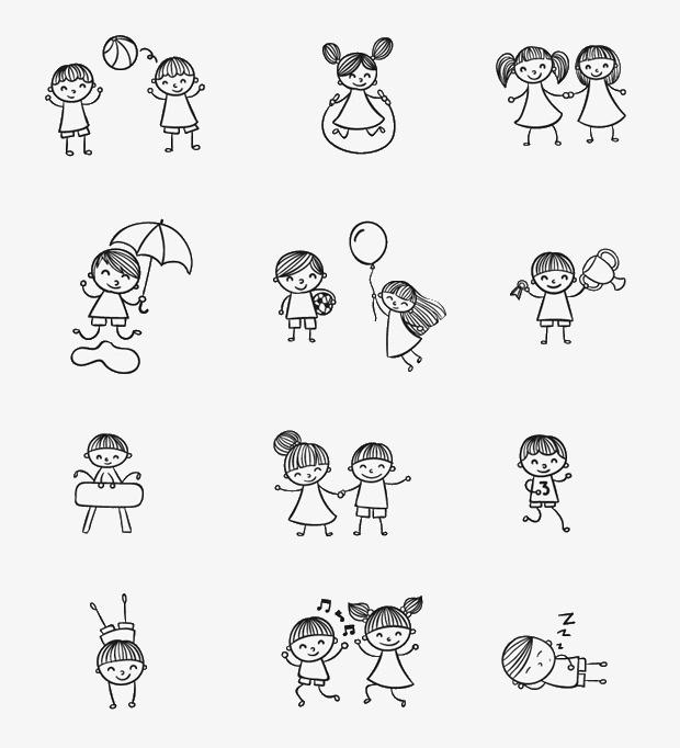简笔画卡通小孩【高清装饰元素png素材】-90设计