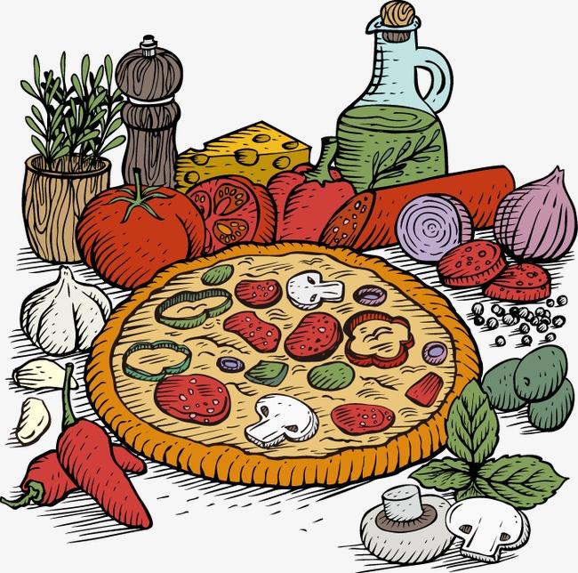 手绘彩色蔬菜图案