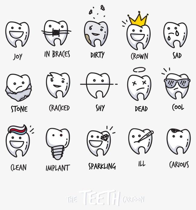 可爱的卡通牙齿表情