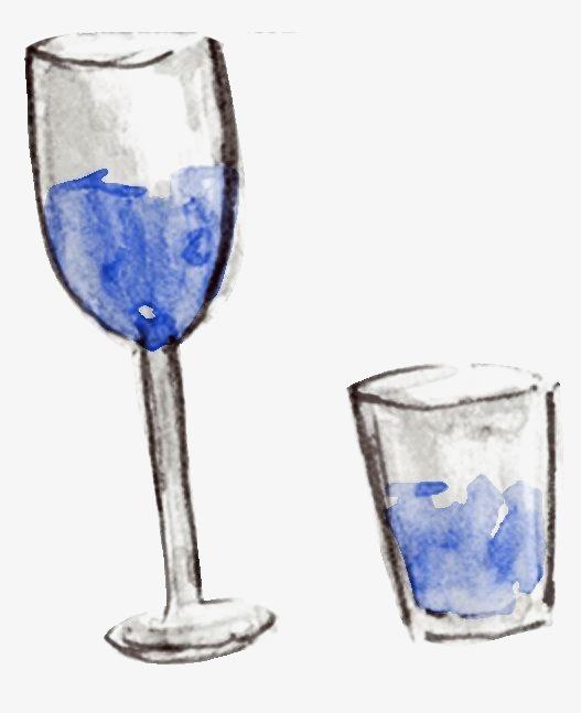 手绘酒杯素材