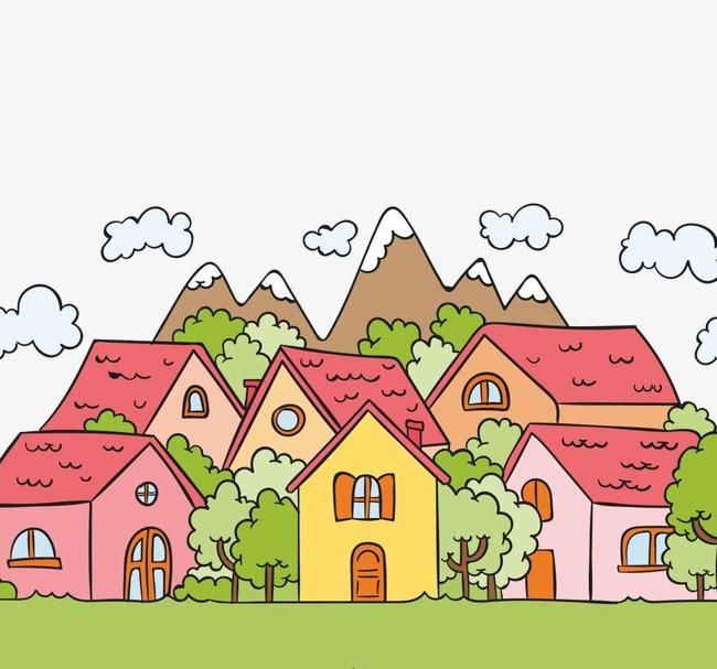 卡通手绘房子