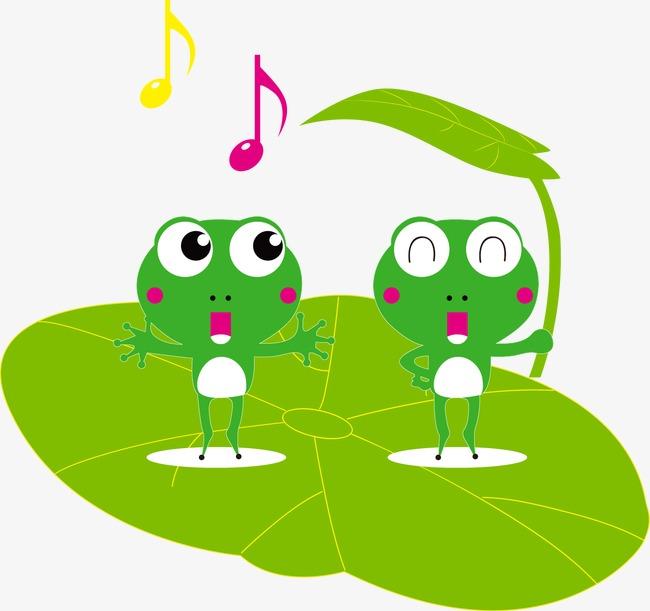 手绘卡通青蛙荷叶图案