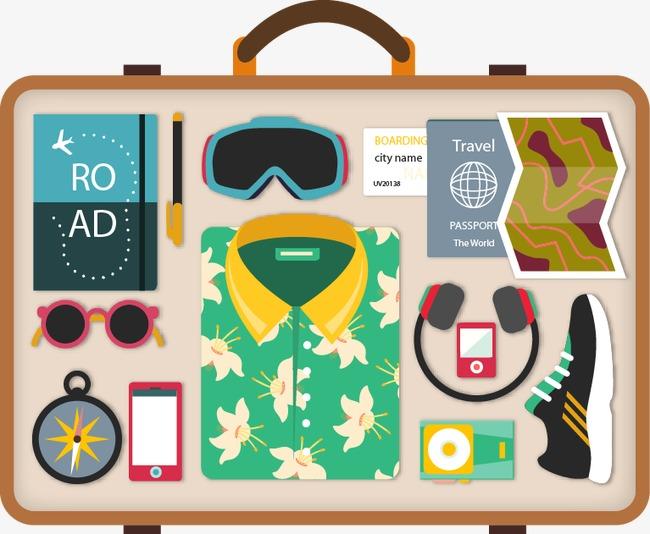 手绘行李箱图案png素材-90设计