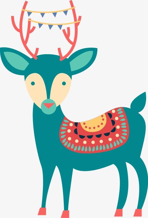 抽象彩色梅花鹿图案