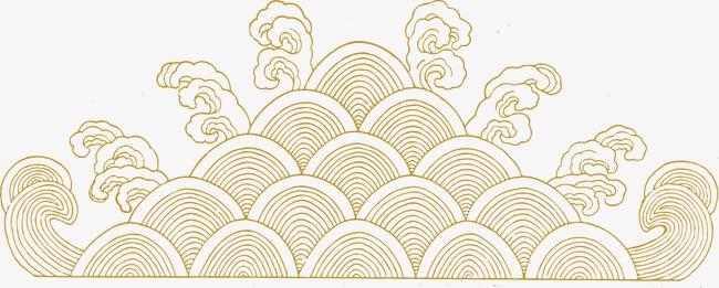 金线 边框 云纹【高清边框纹理png素材】-90设计