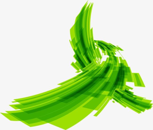 手绘梦幻绿色水墨图案