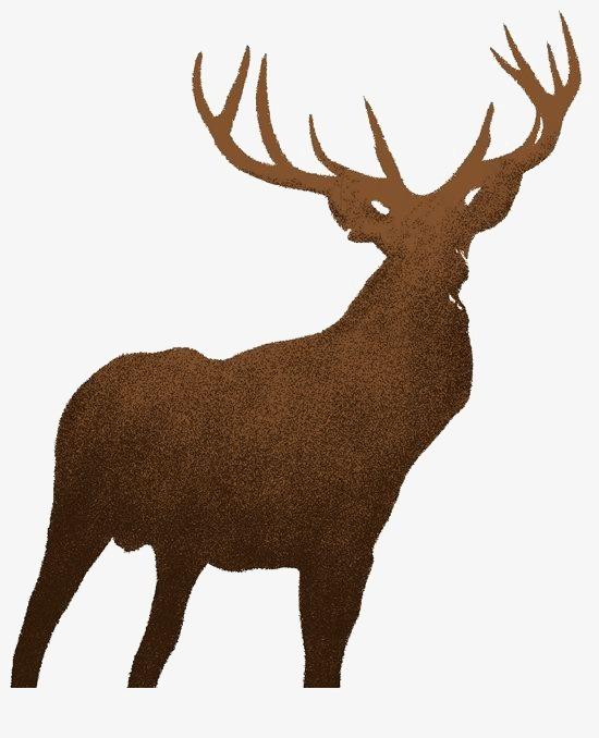 水彩手绘小鹿剪影