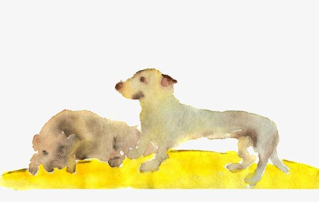 水彩手绘狗狗
