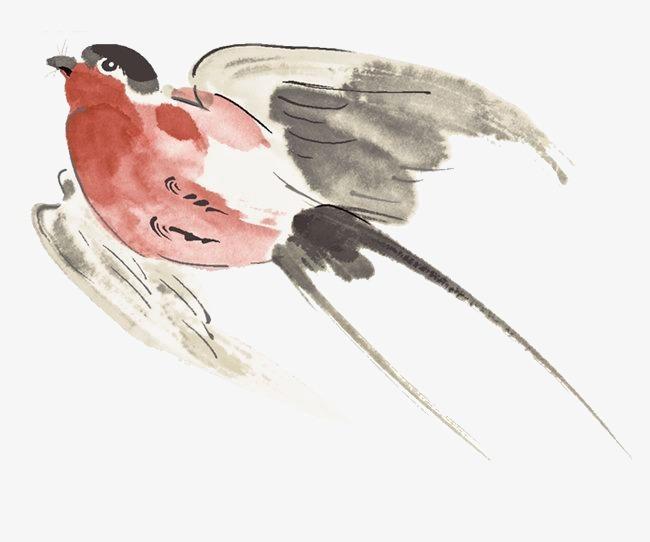 水彩手绘飞鸟素材