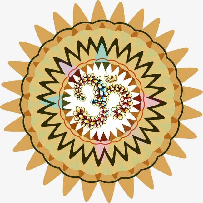 手绘褐色齿轮圆形花纹png素材-90设计