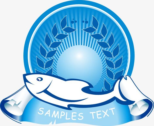 手绘蓝色树叶圆形海豚图案