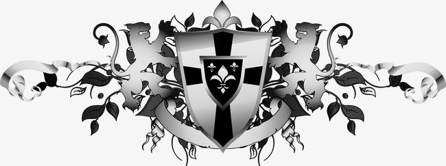 精美灰色欧式徽章飘带