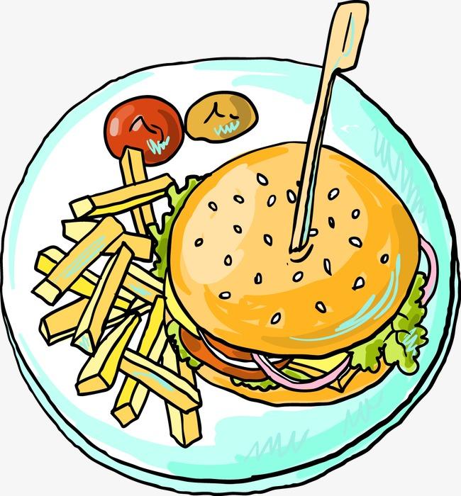 手绘卡通汉堡包薯条