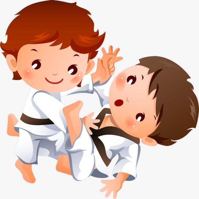 手绘小孩 跆拳道运动 卡通小孩             此素材是90设计网官方