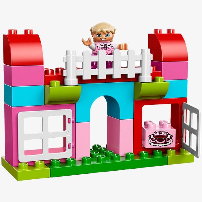 乐高女孩彩色房子玩具png素材-90设计