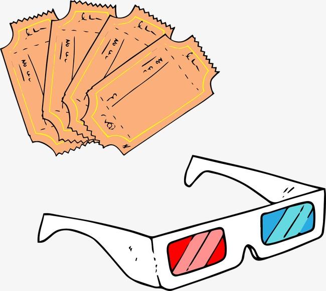 矢量3d眼镜电影票图片