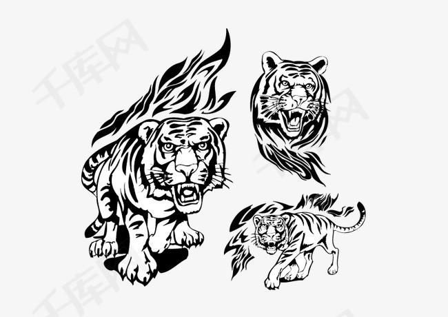 矢量火焰,老虎,图腾,动物,纹身图案,矢量素材图片