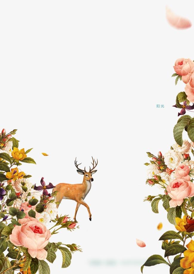 卡通手绘花朵麋鹿