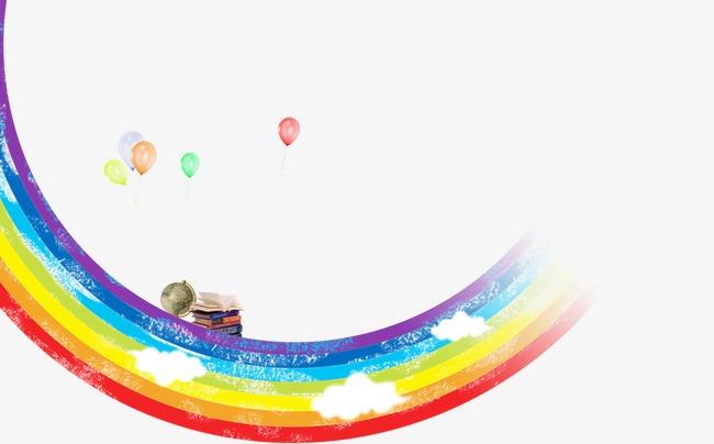 手绘彩虹_彩虹气球png素材-90设计