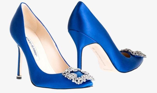 蓝色镶钻马诺洛品牌高跟鞋女鞋