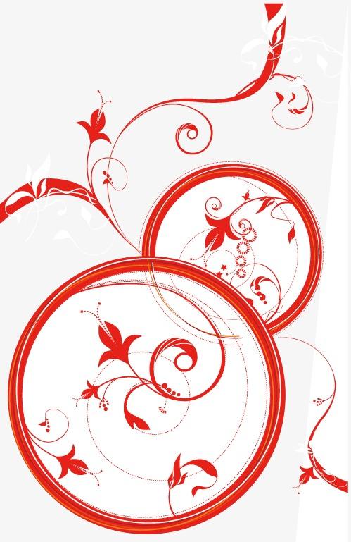 手绘红色圆形花朵图案