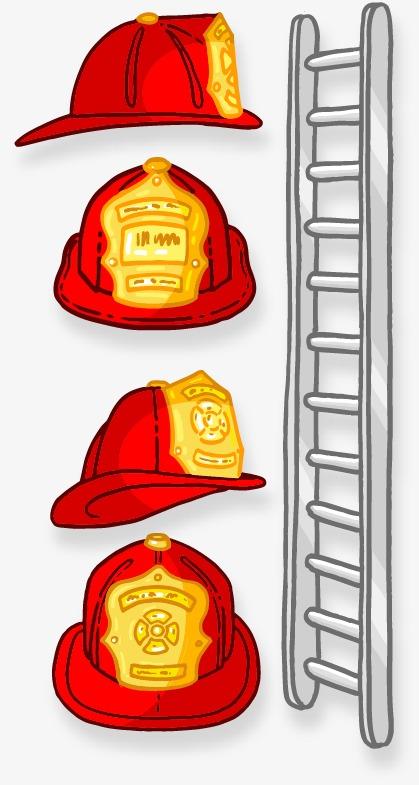 手绘消防帽子楼梯图案