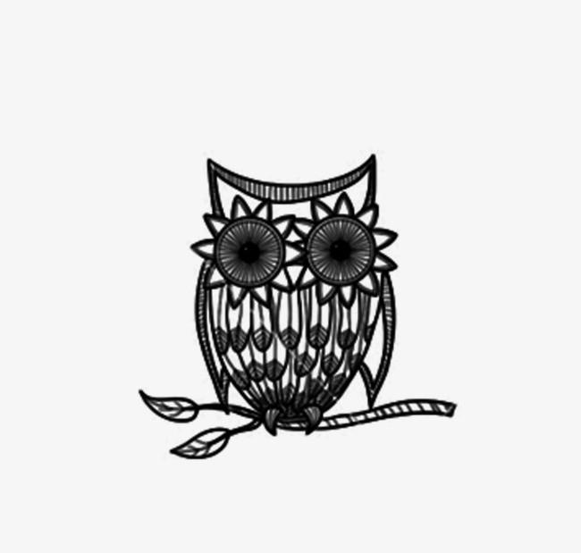 动物 手绘黑白 猫头鹰 装饰画