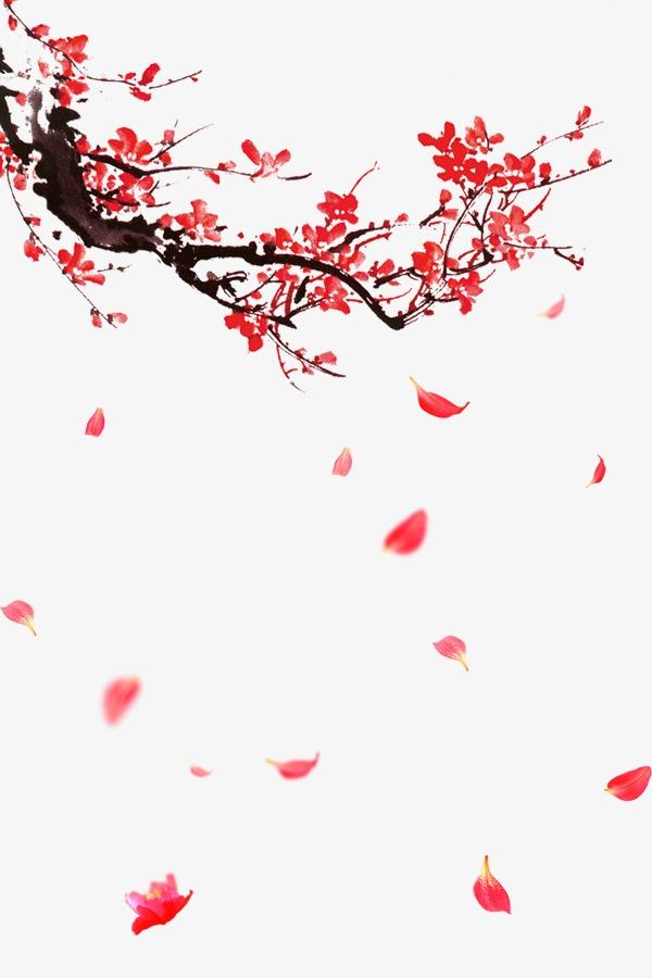 红色中国风飘落梅花花瓣