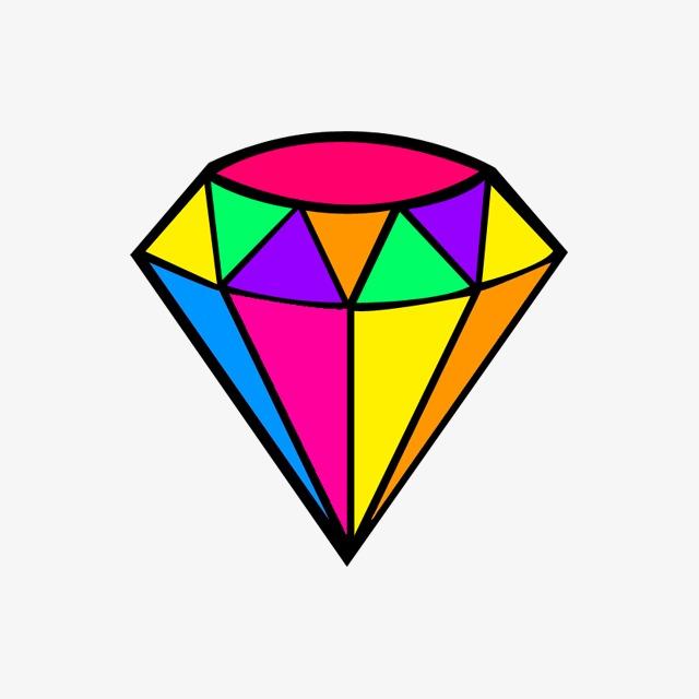 钻石矢量_彩色钻石png素材-90设计