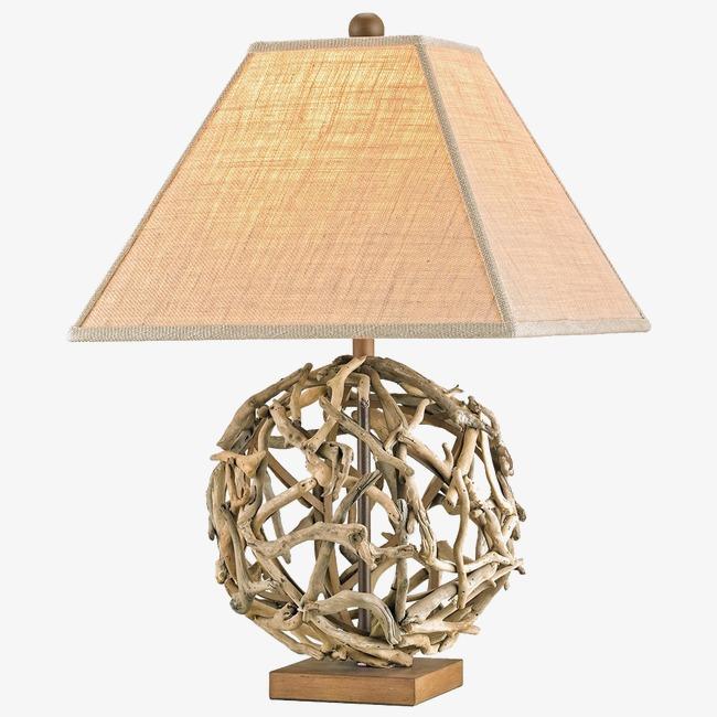 竹条编织的木质台灯