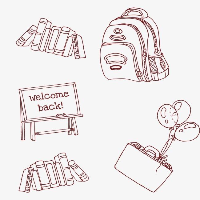 简笔画学习用品素材图片免费下载 高清卡通手绘psd 千库网 图片编号