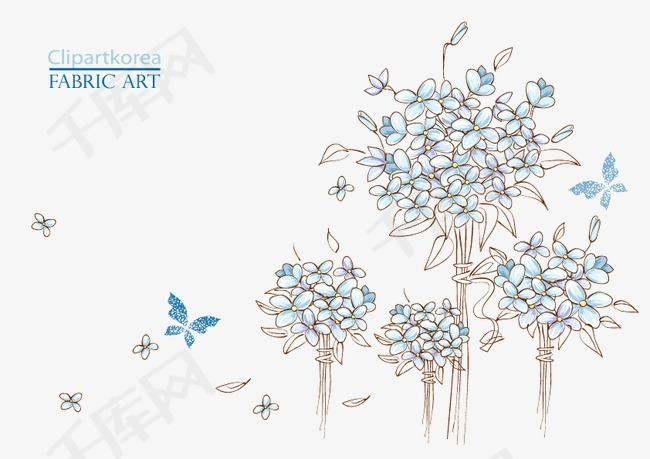 花卉图片绣球花蝴蝶花瓣铅笔画手绘绣球蓝色绣球花-花卉图片素材图