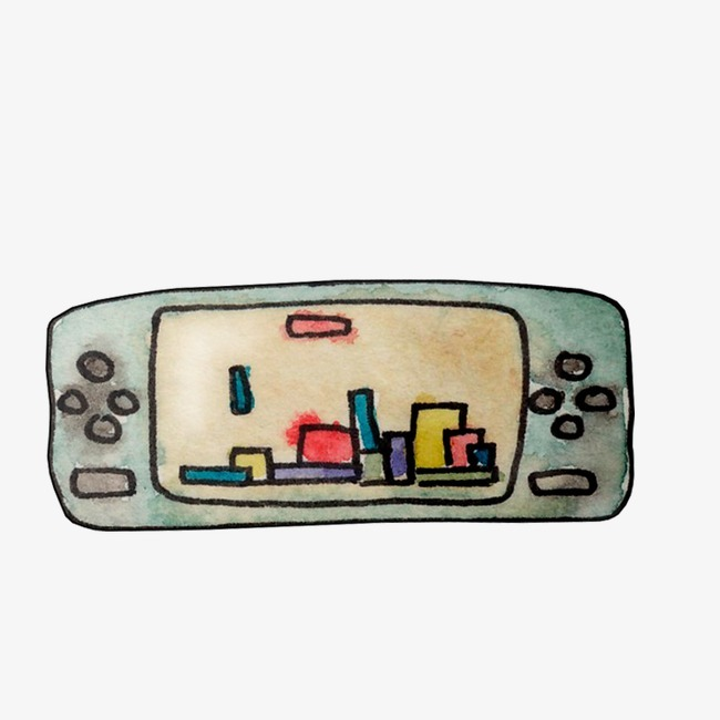 游戏机 童年 玩具 手绘插画 水彩插画