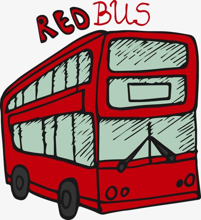手绘英伦风格公交