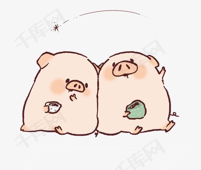 两只看流星的小猪素材图片免费下载 高清卡通手绘png 千库网 图片编号3462810
