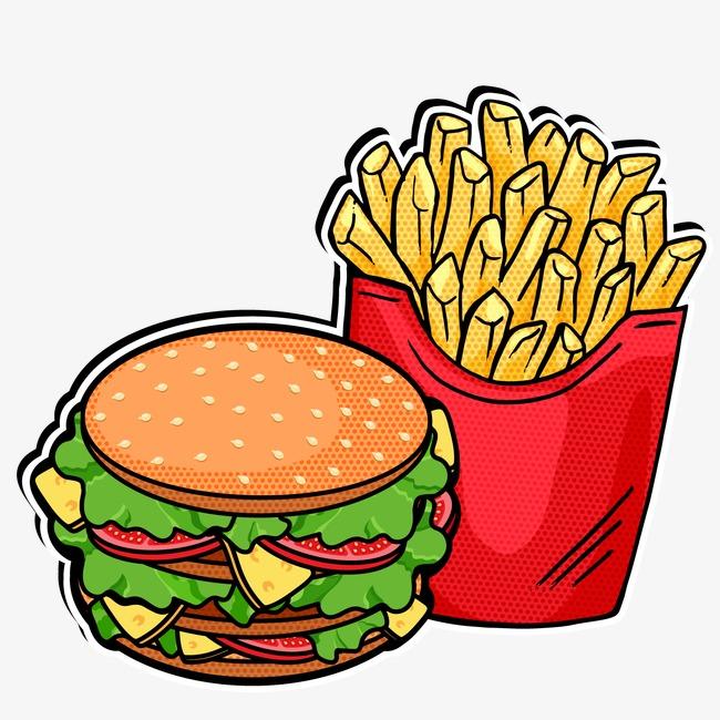 矢量 汉堡 薯条 手绘 快餐 eps             此素材是90设计网官方设