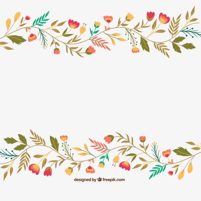 可爱的手画的花朵和叶子png素材-90设计