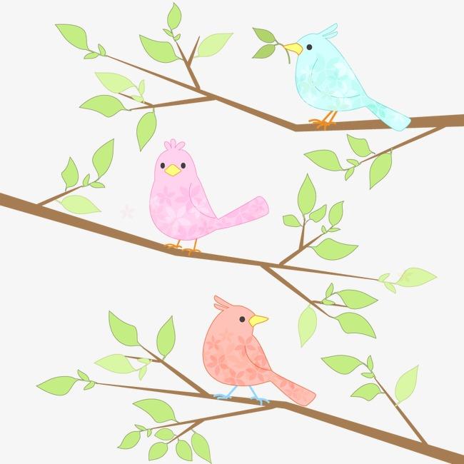 手绘小鸟 彩色鸟 树和鸟手绘小鸟  彩色鸟  树和鸟免扣素材