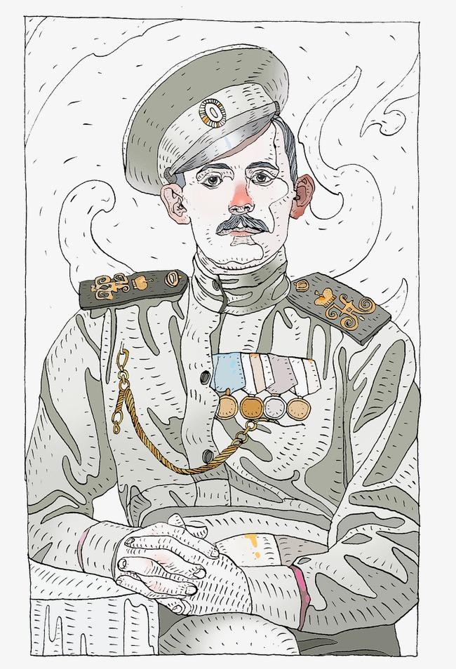 军人手绘线稿图