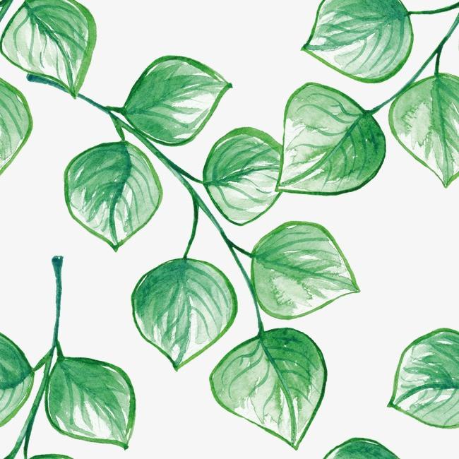 北欧墙纸绿叶手绘