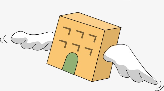 手绘方块箱子翅膀图案png素材-90设计