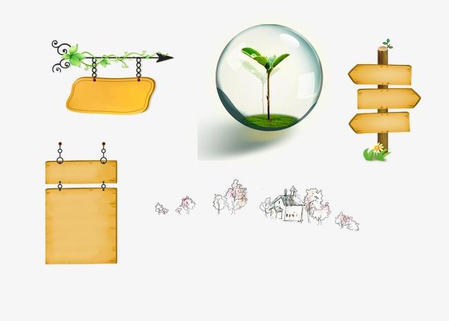 卡通元素指示牌气泡线条小动物