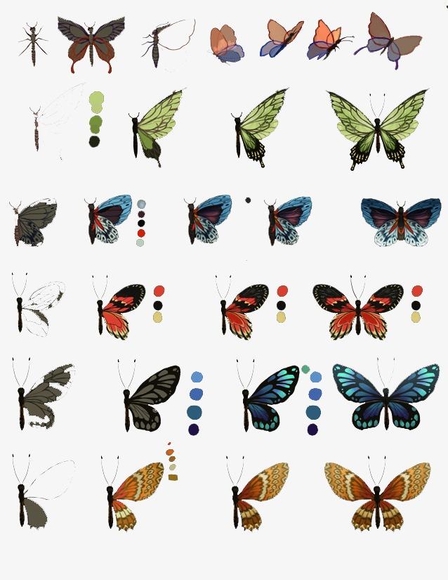 90设计提供高清png手绘动漫素材免费下载,本次蝴蝶配色作品为设计师
