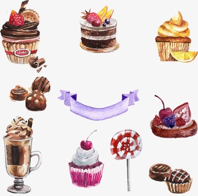 水彩手绘蛋糕糕点甜品