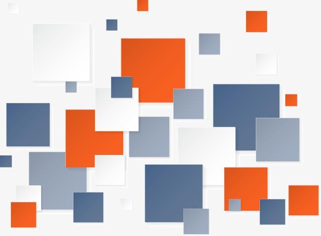 手绘彩色方块图案png素材-90设计