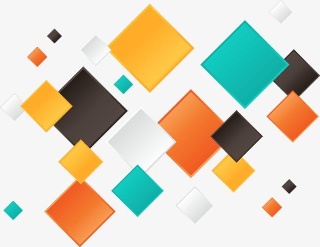 手绘简约彩色方块图案png素材-90设计