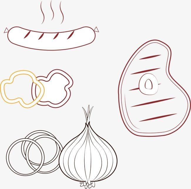 牛排烤肠大蒜图片