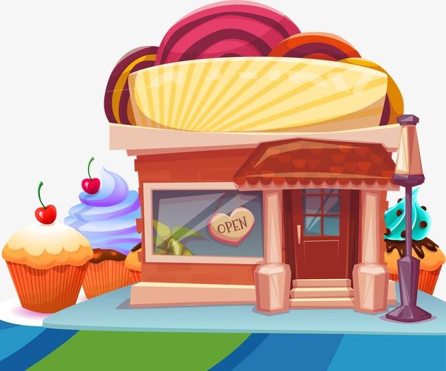 糖果屋 卡通房子 甜点 蛋糕             此素材是90设计网官方设计图片