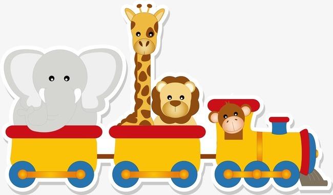 卡通小动物坐火车图片